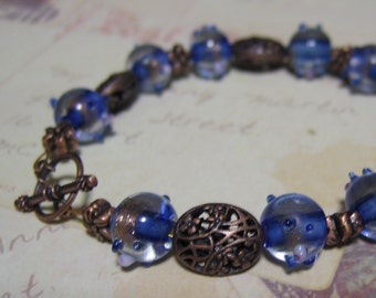 Bracelet and Earrings Set Lampwork Glass and Copper Nickel Free Lead Free