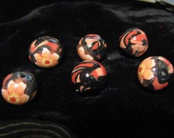Polymer Clay Round Beads Abstract and Flowers Black and Coral Orange
