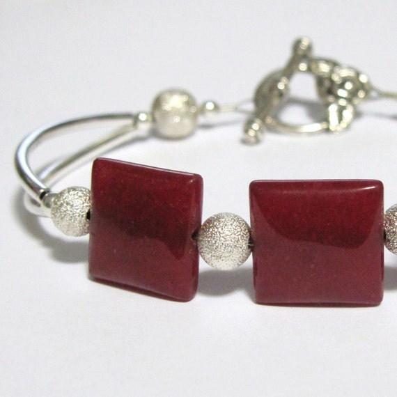 Bracelet Cuff Style Cherry Quartz and Silver 8 inch