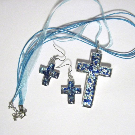 Resin Cross Pendant Necklace and Earrings Set Blue Aquamarine Silver