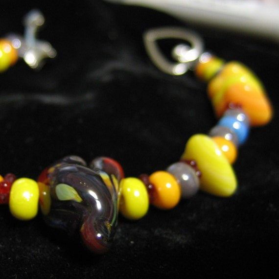 Bracelet Lampwork Heart and Glass Silver Yellow Orange Red Gray
