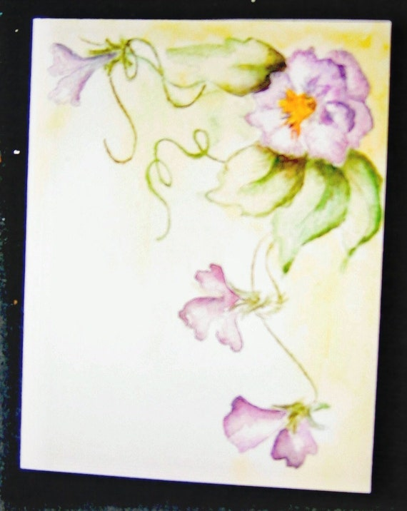 Watercolor Flowers and Vines Notecards Set of 3 with Envelopes