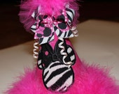 Hot Pink zebra minnie mouse birthday party hat