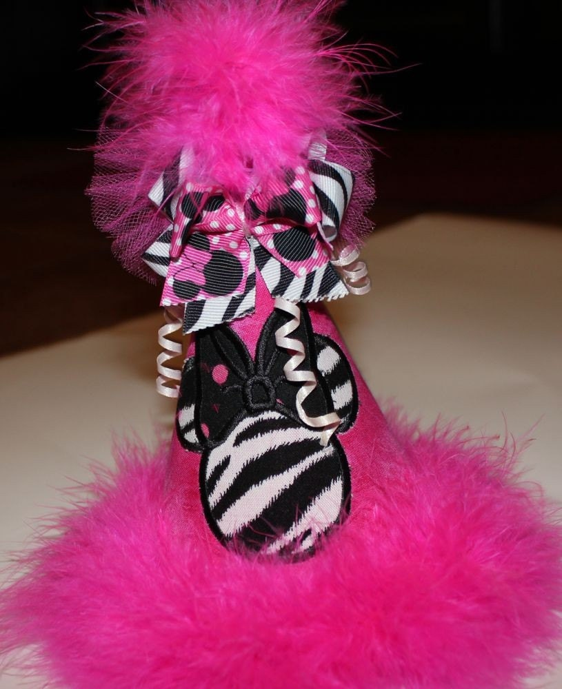 Hot Pink Zebra Minnie Mouse Birthday Party Hat By