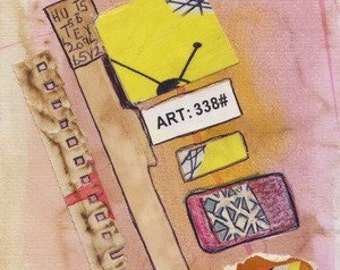 Grafitti. 1950s style. Paper collage. Fabric collage. Mixed Media Art. Abstract Collage. Original. Balancing Act 1. Yellow. Pink.