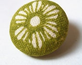 Green Flowers - 6 handprinted covered buttons 19mm