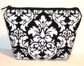 Black and White Damask Zippered Flat-bottom Cosmetic Bag/Zippered Pouch