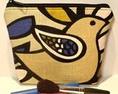 Folk Bird Makeup Bag/Zippered Pouch Padded Flat-bottomed