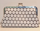 Framed Clutch Gray and White Circles