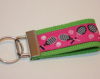 tennis - mini key fob - wristlet key fob - pink and green - tennis gifts - team gifts - gifts under 10