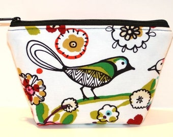 Larkspur Birds Padded Zippered Flat-bottom Cosmetic Bag/Zippered Pouch