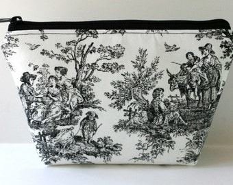 Zippered Pouch - Toile - Black and White - Makeup Bag - Padded - Flat bottomed - Ditty Bag - Cosmetic Bag