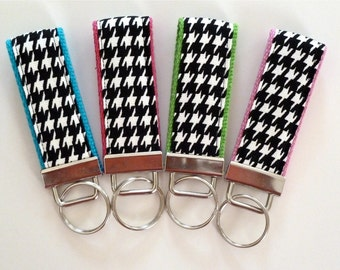 houndstooth - wristlet key fob - mini key fob - black and white - cotton webbing
