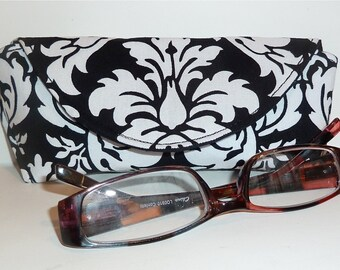 Reading Glasses Case - Eyeglass Case - Sunglasses Case - Magnetic Closure - Black and White - Damask