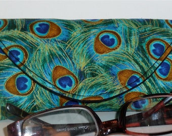 Peacock - Eyeglass Case - Sunglass Case - Plume - Magnetic - Gift for Reader