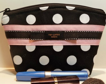 Black White Polka Dot Makeup Bag/Cosmetic/Zippered Pouch - Gifted to Katie Holmes