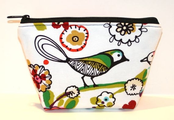 Zippered Pouch - Zip Pouch - Makeup Bag - Flat bottom - Cosmetic Bag - Bird - Larkspur