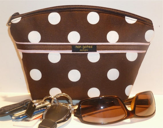 Cosmetic/Makeup Bag Flat-Bottomed Round Top Brown with White Polka Dots