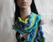 Matching Crochet Hat and Scarf in Brilliant Blues and Yellows - Perfect for the Coming Cold Weather