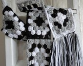Extra Long Granny Square Scarf in Grey, Black, and White