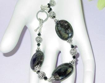 Bali and Black Labradorite Bracelet