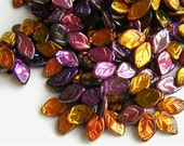 New 21 Czech Glass Leaf Beads Amazing MAGIC PURPLES and GOLDS 8x12mm