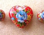 New Lovely JAPANESE TENSHA Beads Blue Rose on Red Heart SET