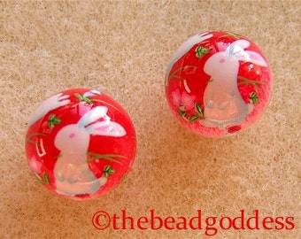 12mm Pair Japanese Tensha Beads BUNNIES PINK RED Background