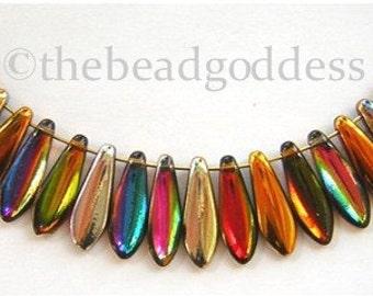 LAST 36 Czech Glass Dagger Beads  'Magic' AUTUMN COLORS Mix 16x5mm