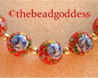 New 5 Beautiful Japanese Tensha Beads Blue Rose Red 12mm