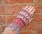 wrist warmers fingerless gloves arm warmers pink and brown Sale