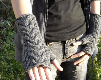 PDF pattern Cable knit wrist warmers knitting pattern fingerless gloves