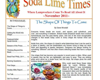 November  2011 Soda Lime Times Lampworking Magazine - by Diane Woodall