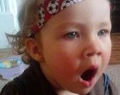 "toddler - girls headband hair band1 1/2"" red soccer balls"