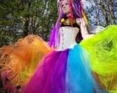 Neon Rainbow Faerie Formal Alternative Wedding Skirt Fae All Sizes MTCoffinz