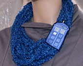 Midnight Blue Tardis Box Embroidery Strand Crochet Scarf MTCoffinz --- ready to ship