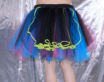 Bubblegum Pink Turquoise Blue Striped Tutu Neon Yellow Bustle adult Small MTCoffinz --- Ready to Ship