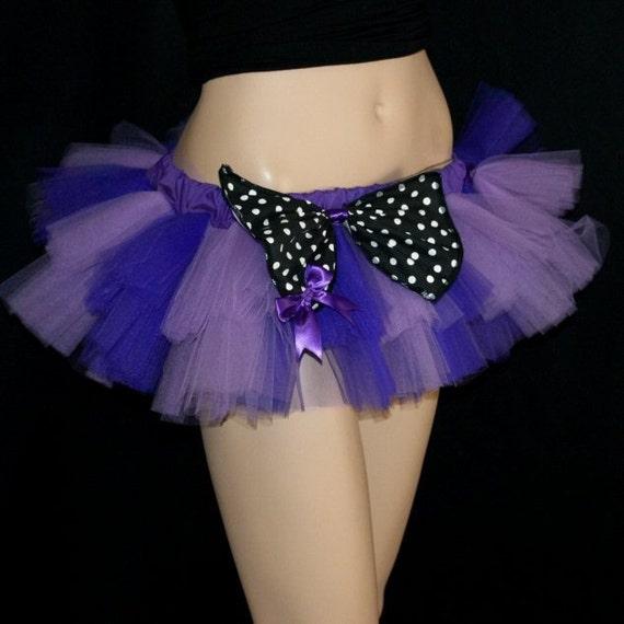 Purple Lavender Striped Polka Dot Bow Micro Mini Ballet Tutu adult medium MTCoffinz -- ready to ship