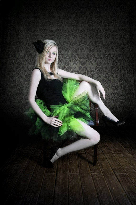 Lime green and black trashy scene tutu skirt adult ALL SIZES MTCoffinz