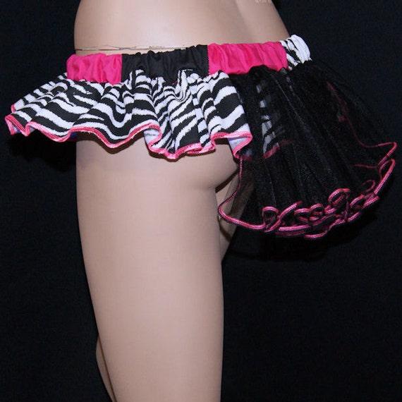 Pink Zebra Bustle Patchwork GoGo Micro Mini Skirt MTCoffinz- adult medium--- ready to ship
