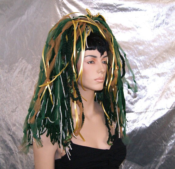 Dark Green Gold Knotty Hair Falls Dreads MTCoffinz --- Ready to Ship