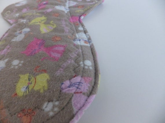Overnight or Heavy Flow Cloth Pad -- Furry Friends Flannel -- Kiki Pads