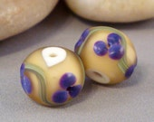 Handmade Lampwork Glass Beads Frosted Purple Blossoms on Yellow Floral Pair by Solaris Beads 1737