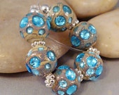Aqua Blue Jeweled Dots Silvered Ivory Set of Round Lampwork Glass Beads by Solaris Beads 1755
