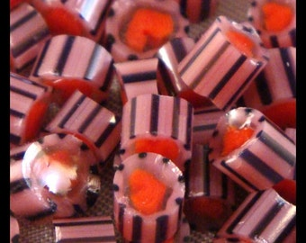 """Handmade Murrini Chips COE 104 For Lampwork Artists Valentine's Day """"Passionate Heart"""" by Solaris Beads MB02"""