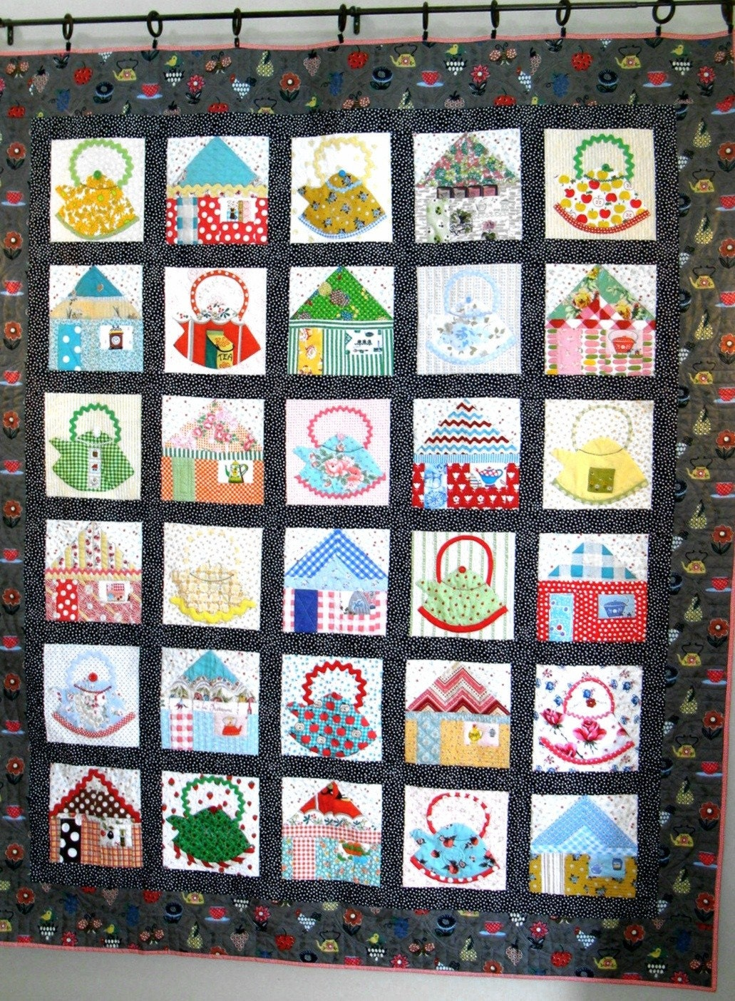 Kettles in the kitchen quilt pattern by fredashive on etsy for Kitchen quilting ideas