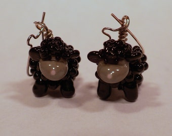 black sheep earrings - handmade lampwork glass beads FOR CUSTOM ORDER