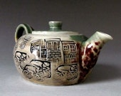 Green Porcelain Teapot with Bicycles and City Ceramic Print
