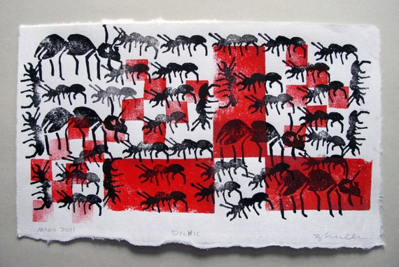 Linocut Collage Relief Print Monoprint of Ants at a Picnic -- ON SALE