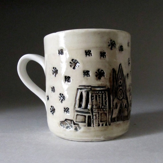 Winter White Ceramic Coffee Mug/ Cup with Winter Small Town Print